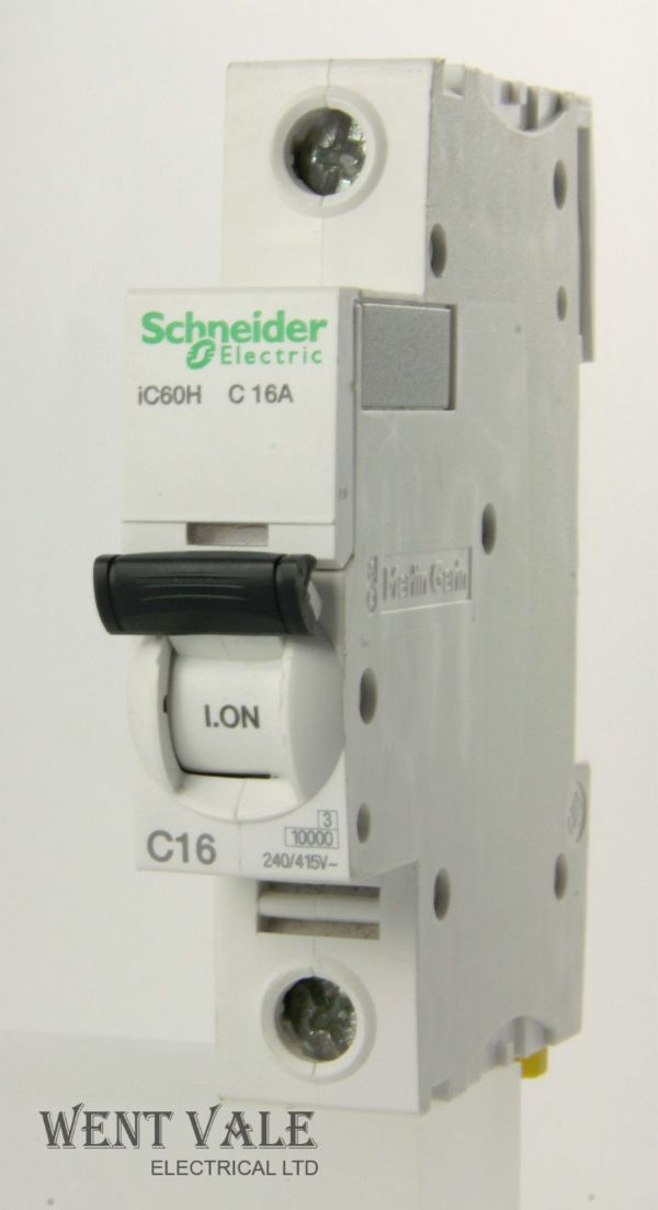 Schneider IC60HC116 - 16a Type C Single Pole MCB Latest Model Used